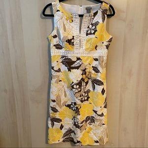 Ann Taylor Sleeveless Yellow Brown Dress Size 6